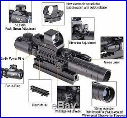 3-in-1 Gun Sight Reflex Dot Laser Scope Optics Rifle Shotgun Firearm Red Green
