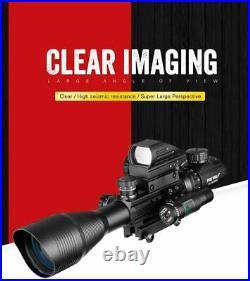 4-12X50 EG Hunting Rifle scope Tactical Air Gun Red Green Dot Laser Sight Optics