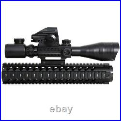 4-12X50 Rifle Scope Sight Illuminated Rangefinder 4 Reticle Red Green Dot Laser