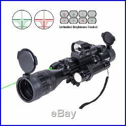 4-16x50 EG Rifle Scope with Green Laser&Reflex Sight&5 Brightness Modes Flashlight