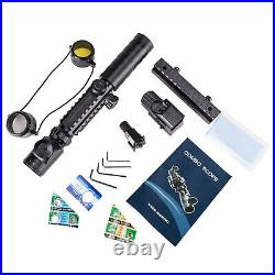 4in1 3-9x32EG Rifle Scope Red Laser Dot Sight Scope with 14 Slots 1 Riser Mount