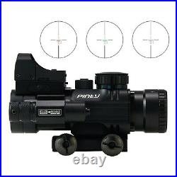 4x32 Scope Acog Red Illuminated Rifle Tactical Sight Red Dot Rmr Green Laser