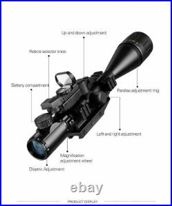 6-24x50 AOEG Rangefinder RifleScope Holographic 4 Reticle Sight Red Dot Laser