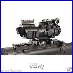 ADE 4x32 Tri Illuminated Rifle Scope with Fiber Optic Rear Iron Sight &Rail 4 32