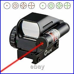 Gun Reflex Dot Laser Sight Scope Rifle Shotgun Pistol Red Green Light 4 Reticles