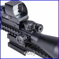 Hiram Rifle Scope 3-9X40 Rangefinder + Red Green Dot Sight + Green Laser + Mount