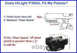 Low Profile P3BGL 500lm Flashlight Blue Green Laser Sight Combo Pistol USB Recha