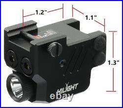 Low Profile P3PGL 500lm Flashlight Purple and Green Laser Sight Combo Pistol USB