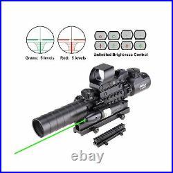 Pinty Rifle Scope 3 9x32 Rangefinder Illuminated Reflex Sight Green Laser 4in1