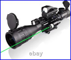 Rifle Gun Scope Sight Combo Optics Green Laser Reflex Holographic Flashlight NEW
