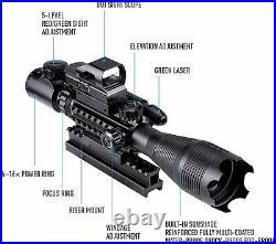 Rifle Scope 4-16X50 Illuminated Optics Sight Green Laser, Reflex Holographic Dot