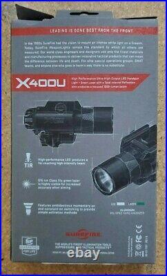 Surefire Ultra LED Handgun/Long Gun Weapon Light with Green Laser Sight X400U-A-GN