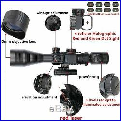 Tactical Rifle AR15 Scope Combo C4-12x50EG Dual Illuminated Red Laser Sight